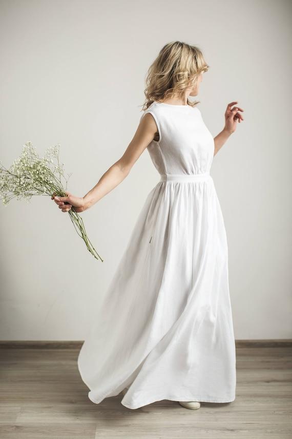 f678008a10 Linen modest wedding dress linen wedding dress linen wedding