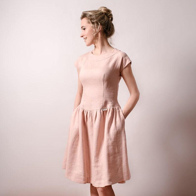 020b53674d6 Linen dusty pink dress bridesmaid dress casual wedding