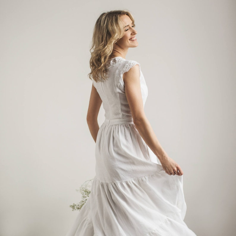 1f14358482 Linen wedding dress with a lace modest wedding dress beach