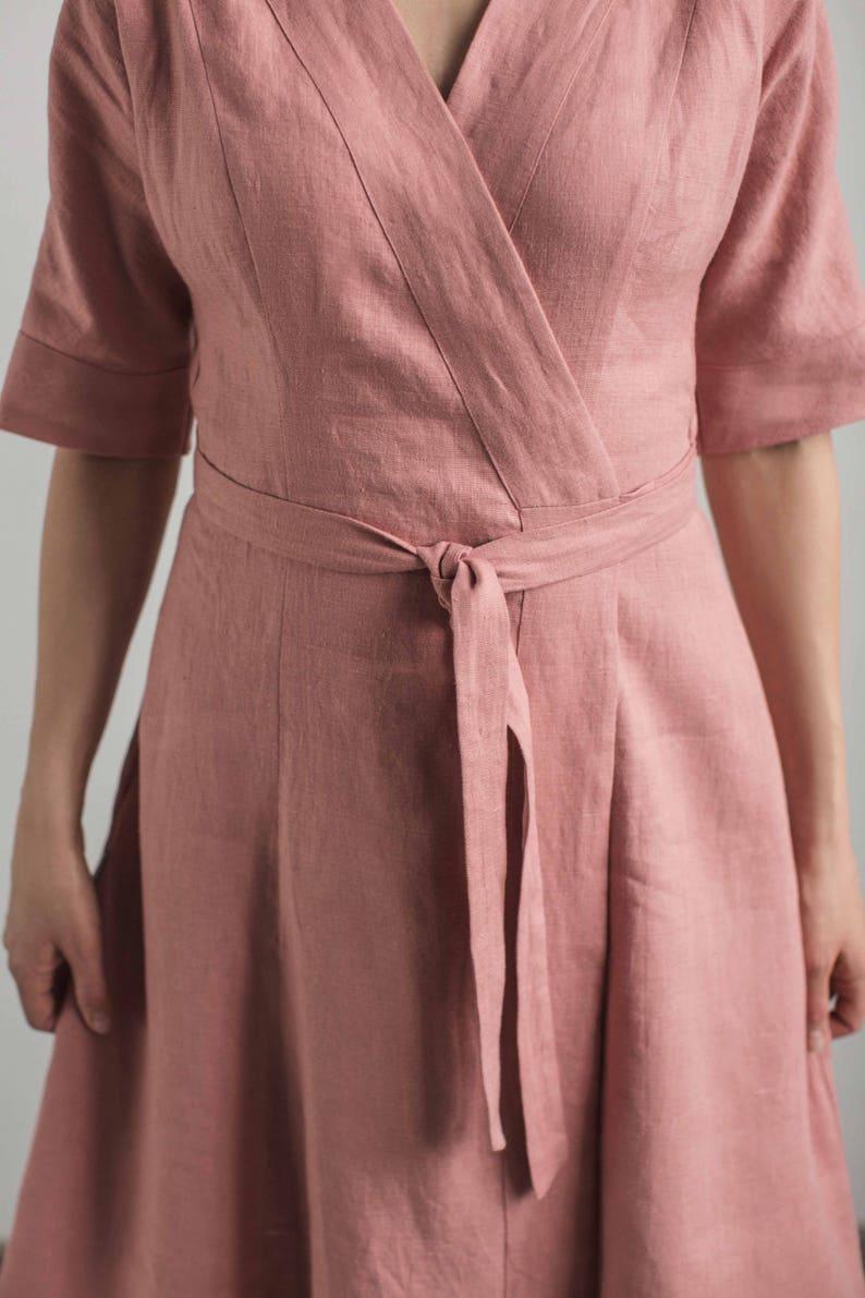 afee52979e Linen wrap dress wrap around dress half sleeve dress belted