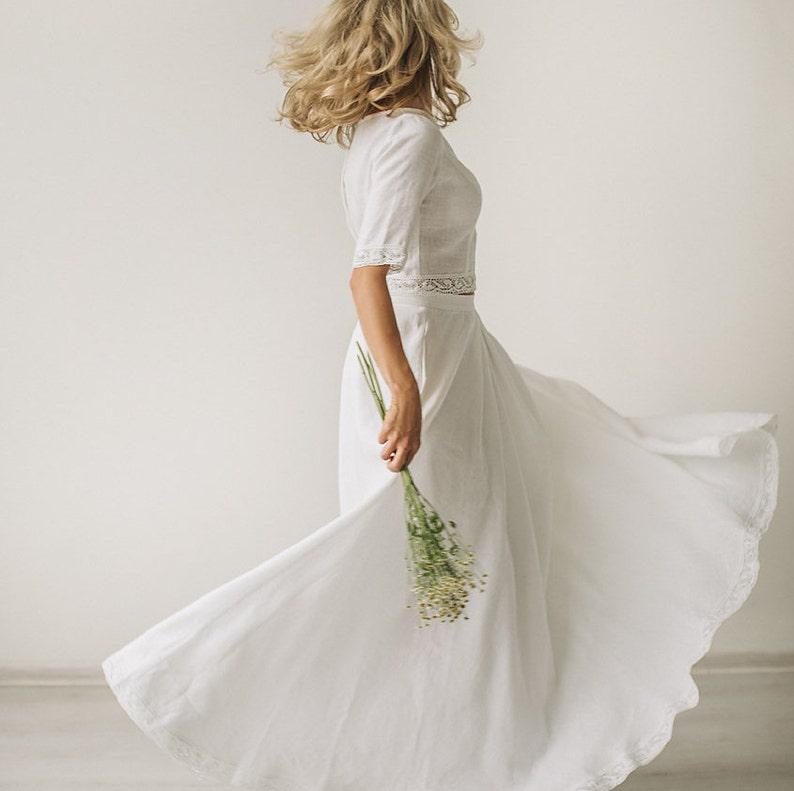 849c8a53eb2 Linen wedding dress crop top wedding dress rustic wedding