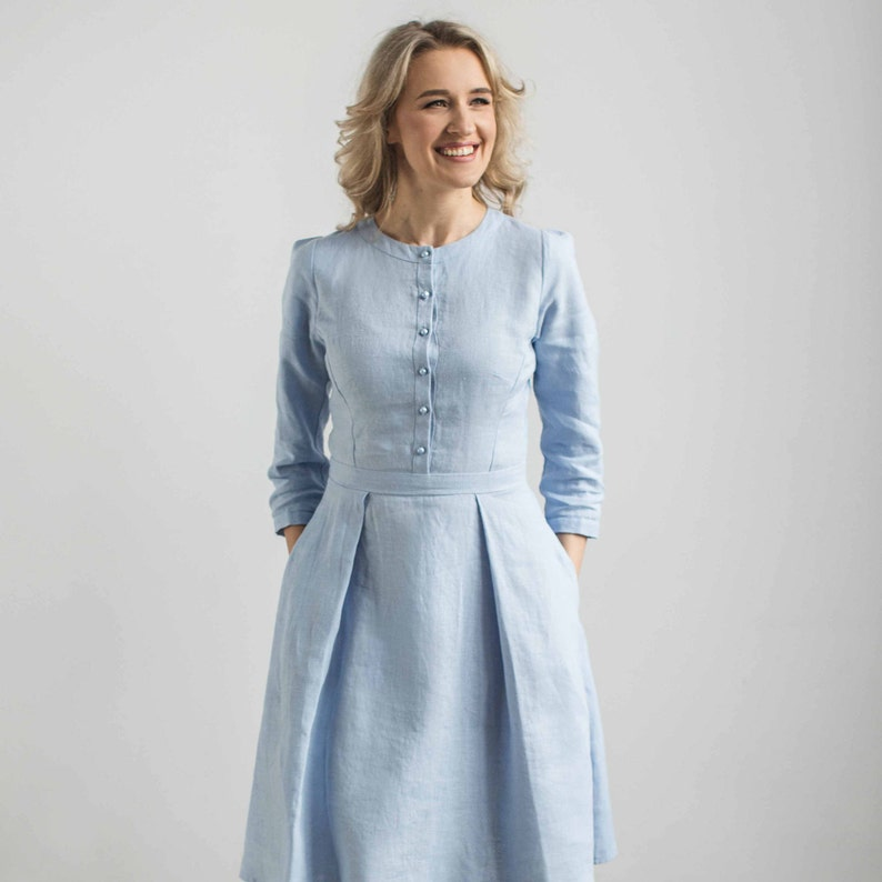 57141ddd9b51 Linen elegant dress wedding guest dress mother of the bride | Etsy