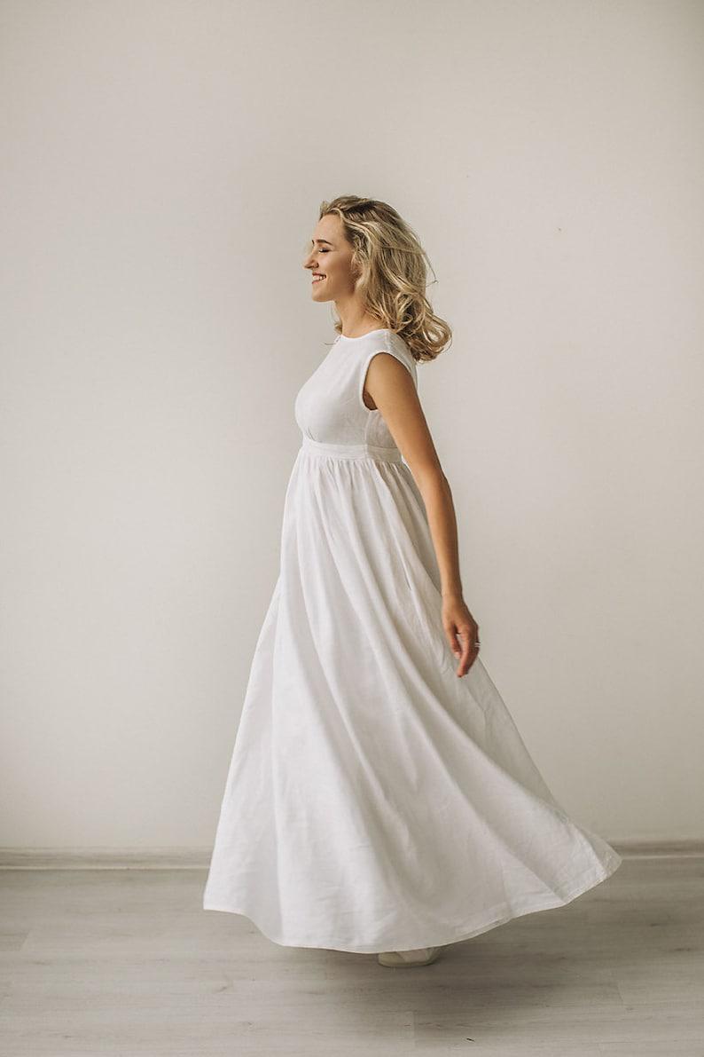 Linen Wedding Dress For Pregnant Bride Maternity Wedding Etsy
