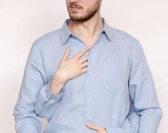 Mens linen shirt, groomsmen, linen shirt men, supreme shirt, feyonce shirt, hubs shirt, loungewear, gender neutral, chemise, menswear