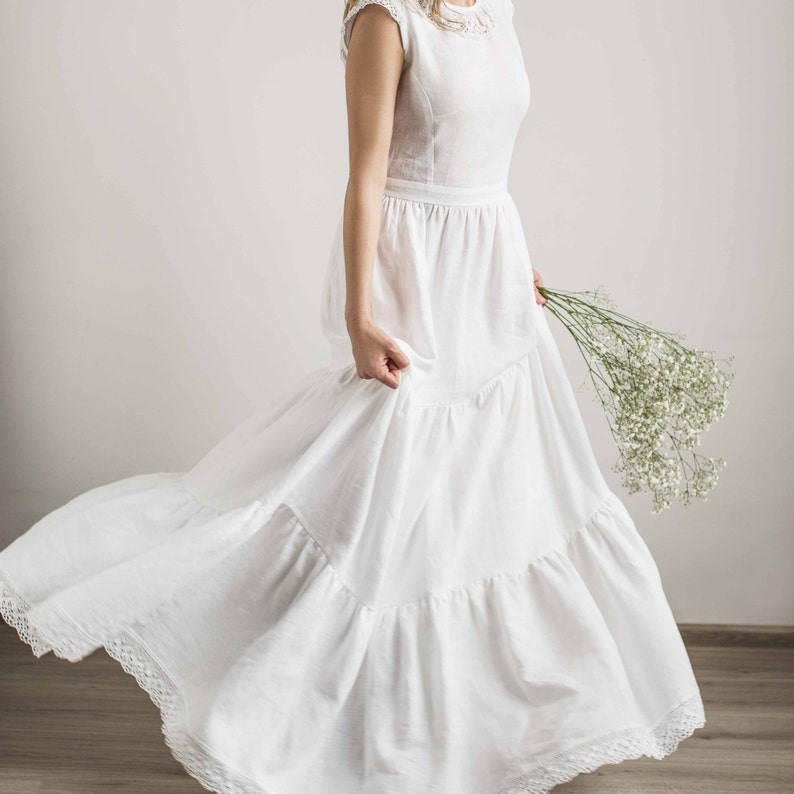 11f27d6cf8 Linen wedding dress with a lace beach wedding dress modest
