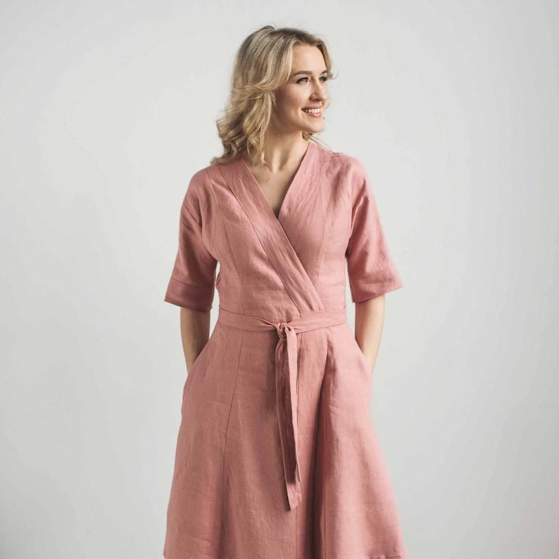 fe6131235289 Linen wrap dress wedding guest dress peach linen dress | Etsy