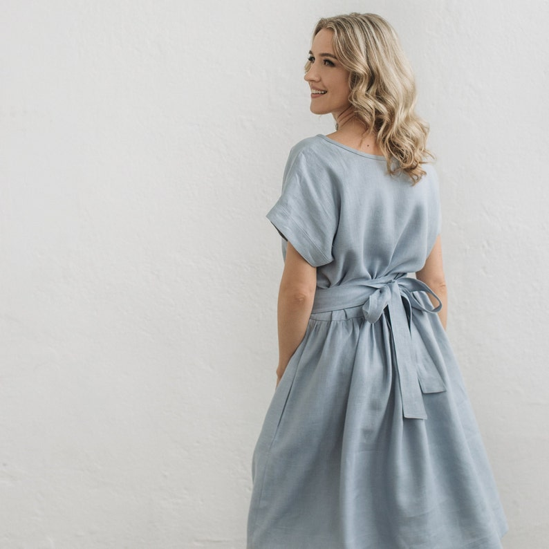 Linen Dress Wedding Guest Dress Bridesmaid Dress Linen Clothing Boho Linen Dress Maternity Dress Flowy Linen Dress Summer Linen Dress