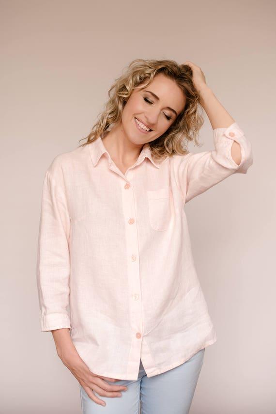Loose linen shirt classic collar shirt linen button down  93d37a5b13e53