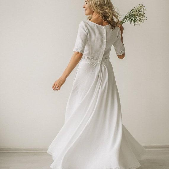 8592f23cd2 Linen wedding dress crop top wedding dress rustic wedding
