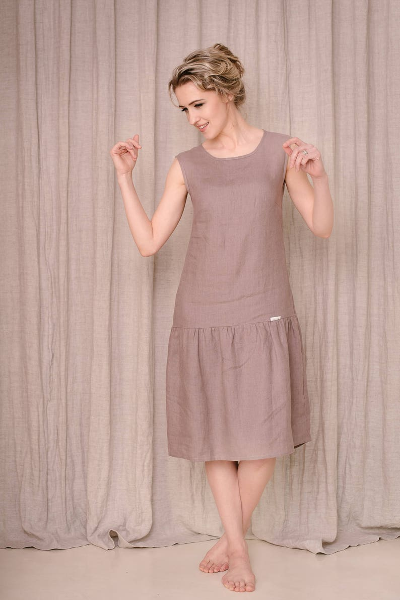 1920s Day Dresses, Tea Dresses, Mature Dresses with Sleeves Linen Dress Drop Waist Dress Linen Clothing Linen Tank Dress Summer Linen Dress Simple Linen Dress Sleeveless Dress Plus Size Linen $122.00 AT vintagedancer.com