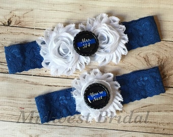 Police Officer's Wife Custom Badge number White Lace Wedding Garter Police Sheriff Thin Blue Line