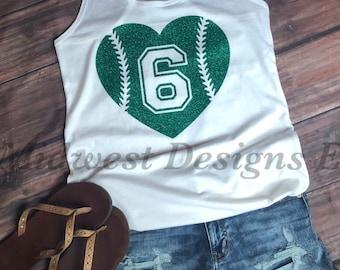 7f56f1b14ba55 Womens Racerback Baseball softball number stitch tank glitter baseball mom  softball mom heart