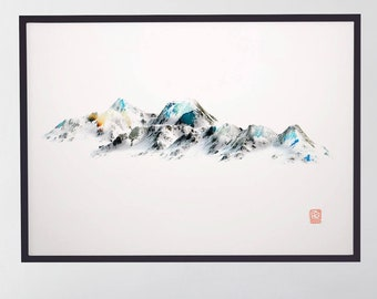 Wilderness poster Mountain photography Snow landscape peaks Large wall art poster Modern abstract painting Contemporary living room artwork