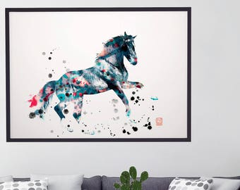 Home decor Modern Horse wall art Horse photo Abstract photo poster Blue Black white wall art Horse art print Wall art decor modern artwork