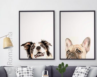 PEEKABOO set of 2 Dog paintings, custom pet portraits, dog portrait custom painting memorial dog lover gift custom dog art dog lovers gift