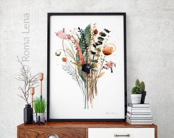 Herbal Bouquet of wildflowers Farmhouse wall art Watercolor print Nature flower painting Floral decor Floral illustration Home decor artwork