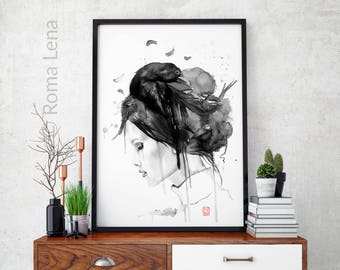 Black White Witch Magic watercolor painting Voodoo magic drawing Modern Contemporary wall art Black and white home decor Gift for her poster