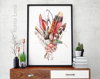 Bird Feather Watercolor painting art print Wall art from my Original watercolor painting Bunch flowers Home wall decor printable art print