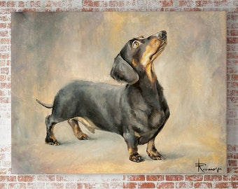 Dachshund Custom dog oil portrait Pet art commission artwork commission Pet lover Home decor Dog drawing oil painting dog cat horse, animal