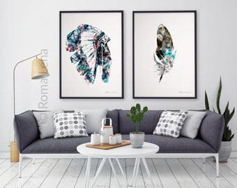 Wall Art Native Indian Feathers Hat   2 Posters Set   Indian Wall Adecor    Modern Living Room Home Decor   Cool Posters Wall Art   Feathers