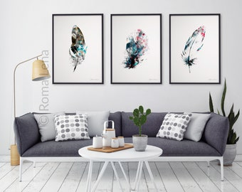 Superbe Watercolor Feathers Wall Art Set Of 3 Kitchen Prints Modern Abstract Black  White Decor Black Grey White Drawing Illustration Living Room Art