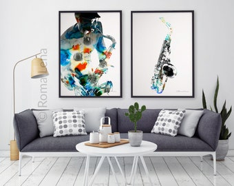 Sax Art Instrument Print Poster Jazz Music Modern Wall Interior Home Decor Musician Gift Prints Set Of 2