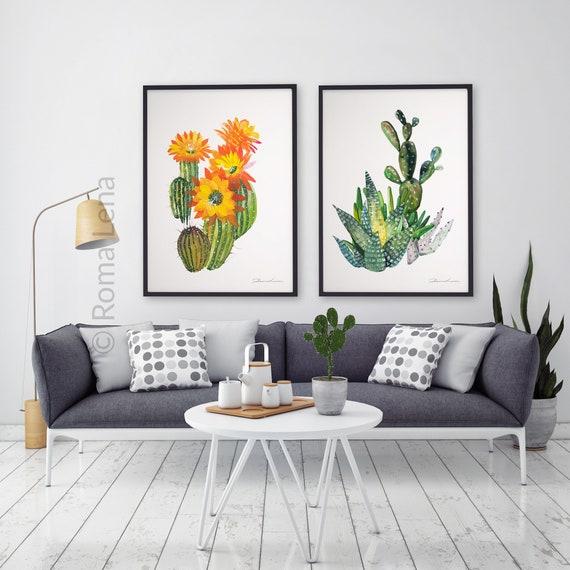 watercolor painting cactus art print kitchen decor wall | etsy