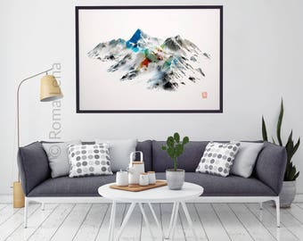 Contemporary living room artwork Large wall art poster Wilderness poster Mountain photography Snow landscape peaks Modern abstract painting