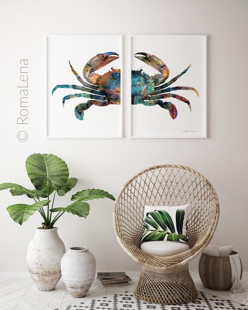 Krabbe, Kunst, Sea Life Kunst, Sternzeichen Krebs, nautische Wandkunst,  Kinderzimmer, Baby Zimmer Poster, Küche Wandkunst, Haus-Wand-Dekor,  Bürodekor