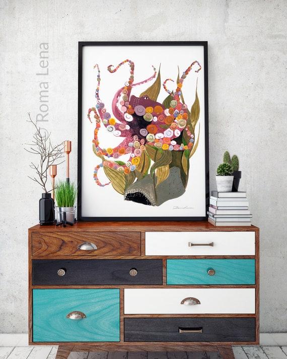 Attraktiv Wand Aquarell Octopus Moderne Malerei Wohnzimmer Kunst | Etsy