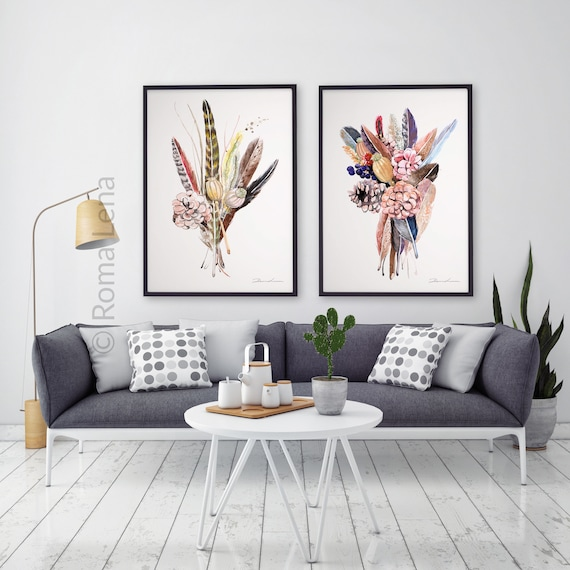 Living Room Art Decor.Bouquet Of Flowers Drawing Bouquet Art Print Living Room Large Poster Kitchen Art Decor Office Wall Decor Boho Feathers Art Print