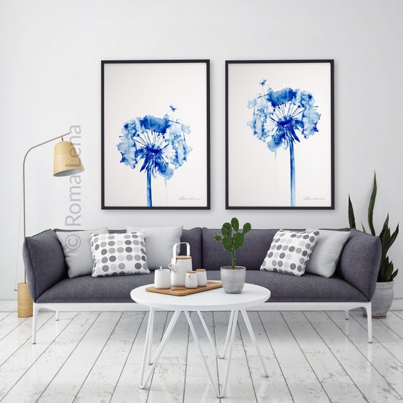 Löwenzahn Malerei Aquarell Haus Wand Kunst Blumen Illustration | Etsy