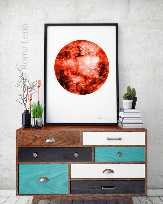 Blutiger Mond Rot Mond Hexen Vollmond Malerei Wohnzimmer Wand | Etsy