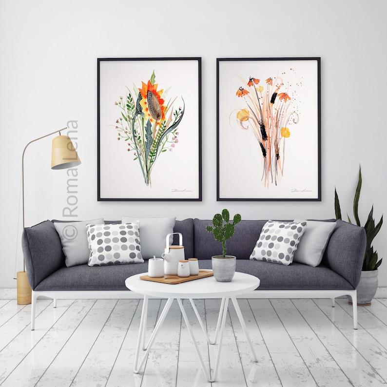 Flowers Poster Art Bouquet Painting Kitchen Decor