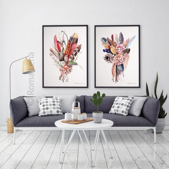 Haus Wand Kunst Blumen Abbildung Wohnzimmer Wohnkultur Set