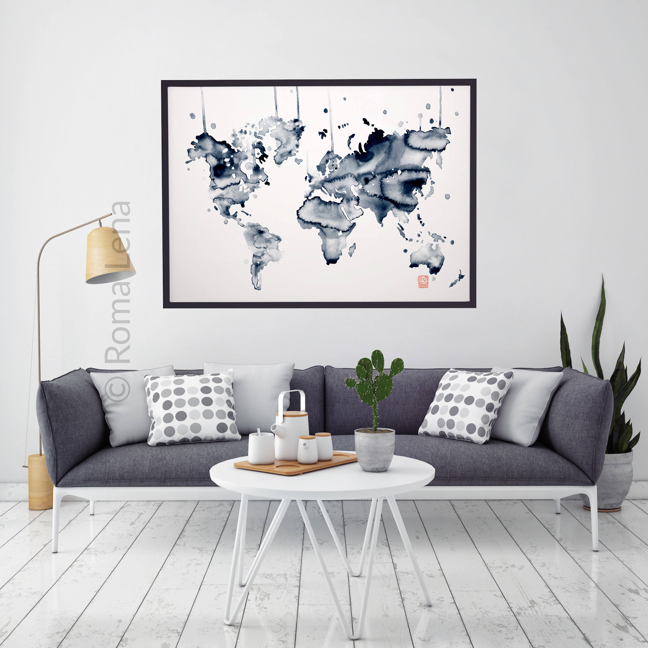 Abstract Map Abstract World Map Map Of The World Map Hand Etsy