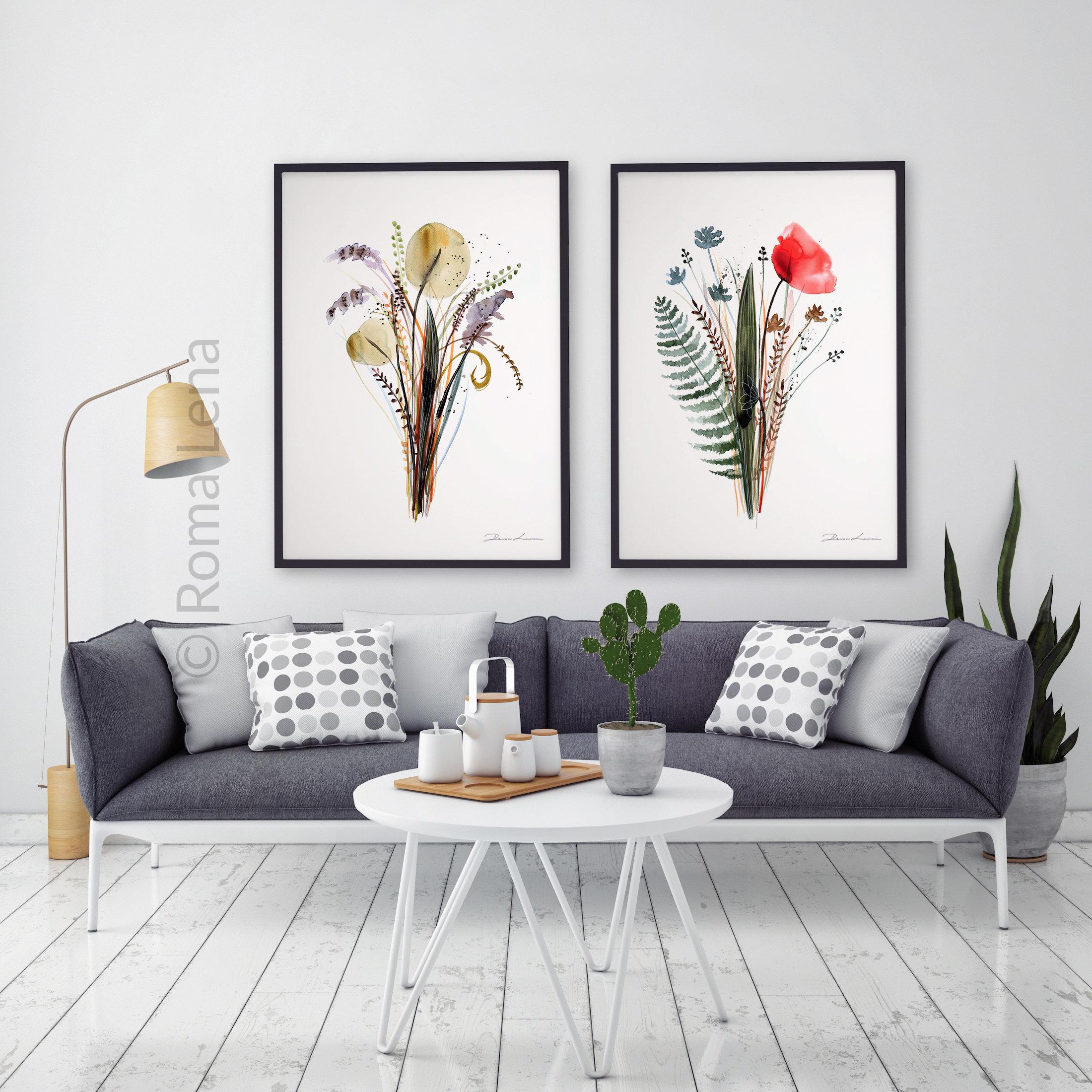 Bohemian Style Decor Boho Room Theme Colorful Flowers Art Flowers Decor Ideas Kitchen Decor Bohemian Wall Art Floral Painting Fine Art