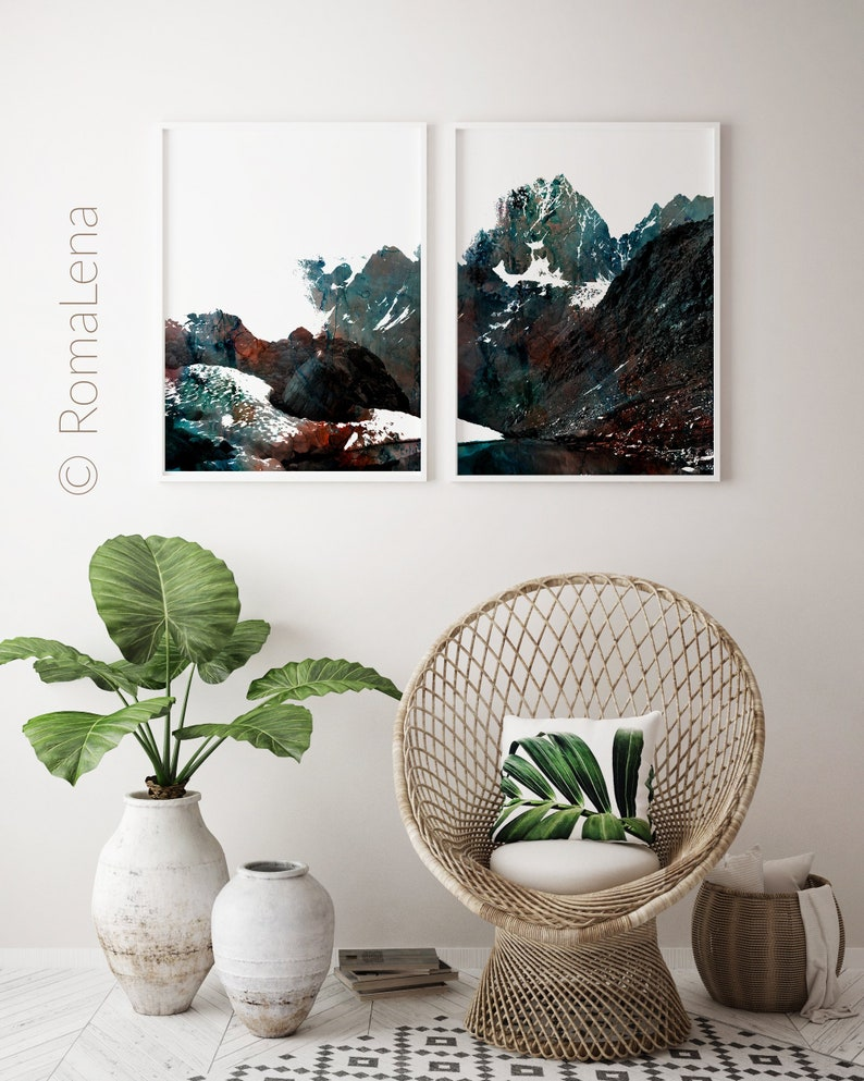 Mountain Poster Theme Mountain View Print Nature Office Wall Etsy