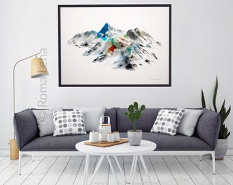 Large wall art poster Wilderness poster Mountain photography Snow landscape peaks Modern abstract painting Contemporary living room artwork