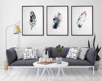 Watercolor Feathers Wall Art ...