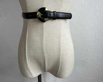 80s Inspired One Of A Kind Black Lambskin Belt With Large Grommets Vintage Buckle
