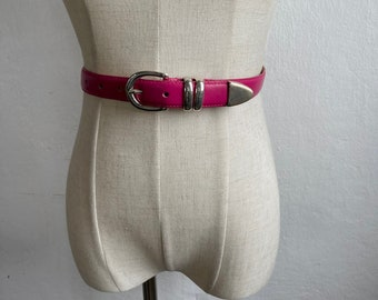 fashion belt pink and blue Colorful belt with Rhombus Shape with Trapezoid Siding  Square Buckle with 5 holes  Vintage ladies belt