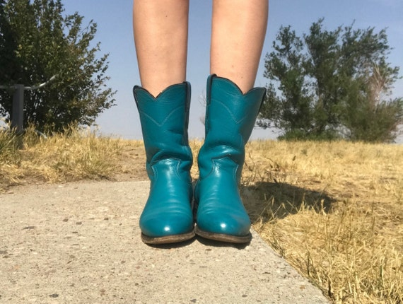 Vintage Turquoise Western Roper Boots