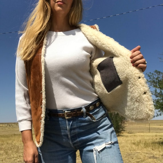 Vintage 70s Brown Suede and Shearling Vest