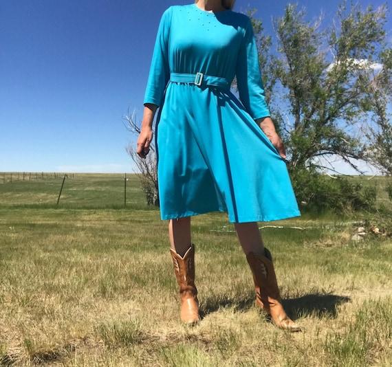 Vintage 60s Baby Blue Belted & Jeweled Yoke Dress