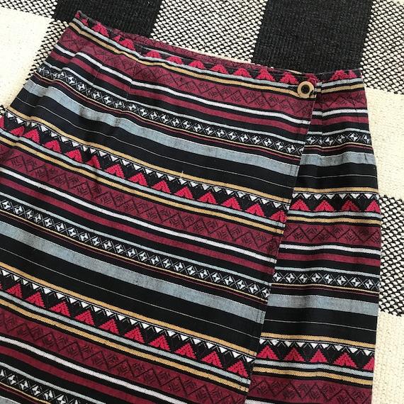 Vintage Estate Custom Tribal Print Triangle Swirl Skirt Purple Green Orange Red