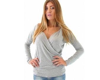 Draped Blouse, Plus Size Maxi Top, Plus Size Maxi Blouse, Gray Blouse, Gray Top, Long Sleeve Top, Woman Blouse, Woman Top
