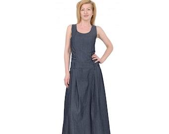 Basic Maxi Jurk.Denim Maxi Dress Etsy