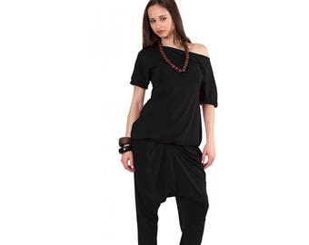 Black women suit, Two piece blouse and breeches set ,One bare shoulder top, Drop crotch pants, Plus size top and trousers, Two piece set