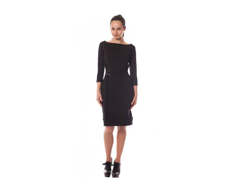 Black Dress Bodycon Dress Long Sleeve Dress Knee Length  a47d61eb7